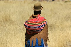 Returning to the Fields Altiplano Bolivia South America (eriagn) Tags: travel blue winter woman snow mountains history abandoned southamerica grass