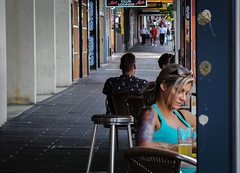 Weeping Tattoo (Theen ... busy) Tags: blue beer girl sunglasses tattoo table chairs samsung tanktop adelaide footpath hindleystreet clublounge theen