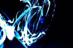 Blue flames and one child (Michael Hiebaum) Tags: blue light night painting fire darkness bright flames torch