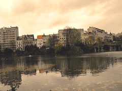 Sunset in Brussels (leonyaakov) Tags: park autumn brussels lake holiday streets monument yellow grey traffic belgium belgique bruxelles promenade   sheddingofleaves