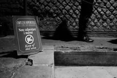 Keep of this area (Costigliola Michele) Tags: street blackandwhite bw italy white black this fuji streetphotography area napoli keep fujifilm streetphoto moved scarpa mosso monocrome divieto marmi antichita streetbw x100s