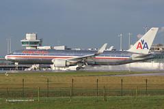 N361AA - 1988 build Boeing B767-323ER, arriving on a wet Runway 23R at Manchester (egcc) Tags: man manchester american boeing americanairlines aa 361 aal 235 ringway b767 egcc b767300 b763 24042 b767323 b767323er n361aa