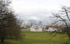 Greenwich Park and Canary Wharf beyond (zawtowers) Tags: park panorama london college up thames river walking university day view cloudy walk hill greenwich royal saturday scene wharf valentines former canary february naval 2015 se10