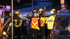 Male Trapped By Hydro WiresAfter Rolling Car (bcfiretrucks) Tags: life rescue canada vancouver fire trapped downtown pin bc accident cut live victim canadian ambulance hydro wires gore jaws driver firefighter paramedic job department entrapment tool rollover vfd collision extrication fd extract overturn prior bcas vfrs