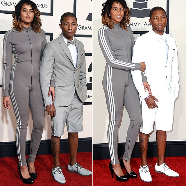 #2015grammys #Pharrell      Williams wears technological marvel #Adidas #3M #fan #club #pantsuit looks #silver in regular light but when photographed reflects #white #style #styleblog #fashion #menstyle #jacket #shorts