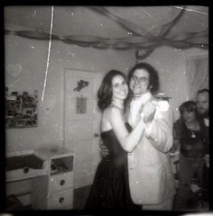 1950's themed party in 1979 in Historic Ellicott City, Maryland. (A CASUAL PHOTGRAPHER) Tags: portraits dancing parties maryland spouses howardcounty ellicottcity contactprint kodakbrowniestarflashcamera 127formatfilm