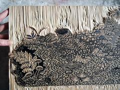 """LOG"" Woodcut Print by Tugboat Printshop (Tugboat Printshop) Tags: wood fern art nature mushroom forest moss log artist pattern handmade drawing snail carving printmaking grasshopper lichen woodcarving woodcutting woodcutter printmaker hollowlog handcarved printmakers tugboatprintshop traditionalprintmaking colorwoodcut collaborativeprintmaking traditionalwoodcut tugboatprintshoppittsburgh collaborativewoodcut drawingtoprint"