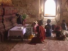 Monk and Folks Worshiping in Bagan