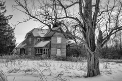 Old Abandoned Farm House (marylea) Tags: feb28 2015 blackandwhite blackwhite bw creepy rustic rural realestate farm abandoned empty farmhouse winter snow snowy michigan southeasternmichigan monochrome