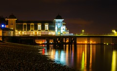 Penarth Pier (technodean2000) Tags: sea reflection beach water night pier nikon cardiff pebble penarth lightroom photoscape d5300