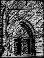 In the Shadow. (CWhatPhotos) Tags: omd em10 photographs photograph pics pictures pic picture image images foto fotos photography artistic cwhatphotos that have which with contain esystem four thirds digital camera lens taken 45mm f18 prime shadows shadow flying church door doors religion st saint cuthberts durham city north east light cast casting mono monochrome back white flickr