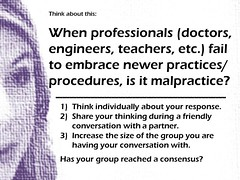 Educational Postcard about embracing newer practices (Ken Whytock) Tags: school education teachers embrace doctors malpractice practices professionals admin engineers newer procedures