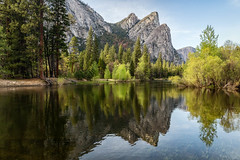 Three Brothers Reflected (Kirk Lougheed) Tags: california usa reflection water river landscape nationalpark spring unitedstates outdoor yosemite yosemitenationalpark yosemitevalley mercedriver eaglepeak threebrothers