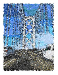 Bay Bridge Mosaic (sjrankin) Tags: 17july2016 edited emojimosaic processed filtered sanfrancisco 14june2016 bridge baybridge cars