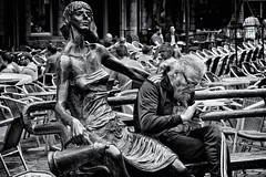 You Never Answer Me When I Ask You If You Want Some Coffee! (Alfred Grupstra Photography) Tags: bw blackandwhite people statueman street streetphotography streetlife leuven vlaanderen belgi be