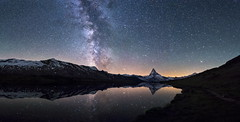 1 Night at the Stellisee (PhiiiiiiiL) Tags: zermatt wallis schweiz ch milchstrasse milkyway milky way stars night nightshot