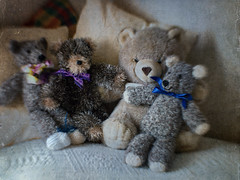 Foursome (Anne Worner) Tags: cute texture smiling lensbaby toys happy eyes soft handmade adorable ears olympus yarn teddybear cuddly layers noses knitted bows grouping alpacayarn handknitted stuffedbears ononesoftware sweet35 anneworner