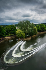 The river and waterfall in Bath, UK (ErikN86) Tags: waterfall bath river uk sony sonydslr sonya77ii cloudy tree contrast water
