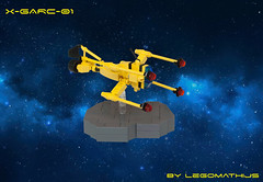 01_X-GARC-01 (LegoMathijs) Tags: lego legomathijs moc space scifi foitsop garc microscale xgarc01 yellow galaxy rock race lasers