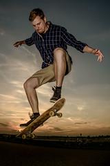 skate or die (xfoTOkex) Tags: skateboard skate skater sunset portrait man blue yellow orange wideangle outdoor clouds sport nnikon d800 1424