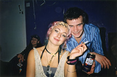 Tasha and Alex (Gary Kinsman) Tags: hampsteadstudentcampus hampstead childshill nw3 kidderporeavenue london 2001 film kingscollegelondon kcl hallsofresidence studentcampus students university fun youth young pose posed noiseroom flash party