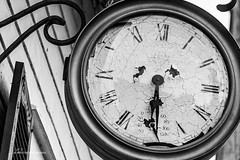 Forever 6:30 (Jae at Wits End) Tags: objects broken clock monochrome peeling decay bw black blackwhite blackandwhite broke circle cracked damaged dial disc gray grey machine machinery mechanical mechanism old paint ring round texture timepiece weathered white