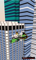 movie flying coffee machine (Xon_67) Tags: lego movie ldd bluerender brickburg moc larry barista coffee skyscraper