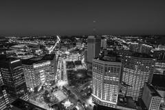 Detroit (Tom Hughes Photo) Tags: detroit black white night longexposure campus martius michigan penobscot tokina1116