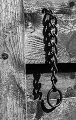 Chain on Wood (vernhagl) Tags: vernhagl chain wood bright light old rust metal monochrome simplicity