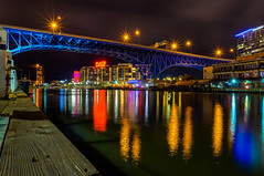 Bridge of Blue (tquist24) Tags: cleveland cuyahogariver hdr mainavenuebridge nikon nikond5300 ohio outdoor theflats bridge city geotagged lights longexposure night reflection reflections river water