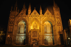 Cathedral main entrance (N'GOMAPHOTOGRAPHY) Tags: peterborough cathedral nightshoot night candles gothic masonry stonework woodwork carvings stainedglass window jesus cross crucifixion
