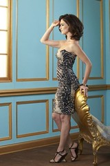 Paz Vega wearing Lloyd Klein animal print cocktail dress