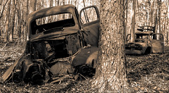 Anybody Know A Good Mechanic? (cwhitted) Tags: abandoned sepia canon eos oldtruck chathamcounty jordanlake pancakelens canoneos400d canoneosdigitalrebelxti beverettjordanlake canonefs24mmf28stm canonefs24mmstm