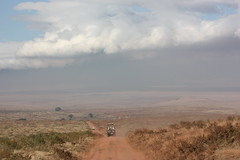 Driving into Ngorongoro Crater