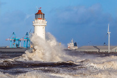New Brighton Lighthouse, perch Rock (davenewby123) Tags: new uk sunset lighthouse seascape rock sunrise big brighton waves unitedkingdom breaking bigwaves newbrighton merseyside purge rivermersey newbrightonlighthouse strongwinds perchrock canoneos6d strongwinsbigwaves