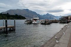 Not Many People About (Jocey K) Tags: trees newzealand sky seagulls lake water clouds boats ducks wharf southisland centralotago queenstown lakewakatipu tripdownsouth