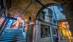 Alleyway near San Marco Square (Mike Filippoff) Tags: old carnival venice reflection water architecture night lights canal costume ancient scenery mask carnivale worn gondola lantern narrow extravagant