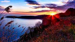 Sunset (jovanmilic40) Tags: sunset sea sky sun mountain plant beautiful clouds nice niceshot great panasonic niceday lx7