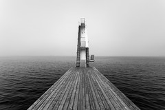 (Svein Nordrum) Tags: blackandwhite bw water monochrome lines stairs grey mood horizon diving divingplatform ingierstrand bunnefjorden