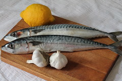 still life with fish I (oana-emilia) Tags: stilllife food fish cooking kitchen lunch mackerel lemon eating lemons garlic image10100 100xthe2015edition 100x2015