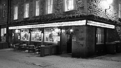 Milnes at night 01 (byronv2) Tags: edinburgh edinburghbynight edimbourg scotland night nuit nacht newtown blackandwhite blackwhite bw monochrome pub bar milnes milnesbar poets poetry literature history