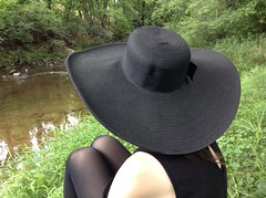 Hattin' (the ghost in you) Tags: greenribbontrail amblerpa creek ambler bridge water goth lydiadeetz hat sitting train septa