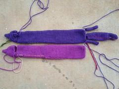 I make progress on the crochet vinxes (crochetbug13) Tags: crochet crocheted crocheting mink minks purple orchid accessory stole veganmink vinx