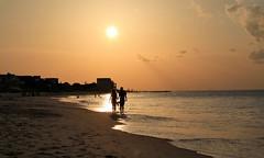 Sunset Stroll (Chuck Hood - PhotosbyMCH) Tags: photosbymch landscape seascape sunset silhouette seaside sky clouds crepuscularrays chicsbeach chesapeakebay virginiabeach virginia usa canon 5dmkiii 2016 waves outdoor beach