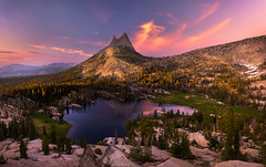 Cathedral Paradise (wuman88) Tags: sunset summer lake cathedral peak alpine yosemite sierras eastern