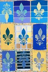 Fleur de lis on Repeat (frnjpn) Tags: yellow abstract blue mosaics designs art fleurdelis