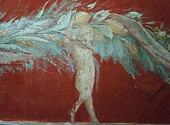 """Putto with flowers and fruits garland - wall painting from Pompeii (1st century AD) - Exhibition """"Myth and Nature"""" at Archaeological Museum of Naples, until September 30, 2016 (Carlo Raso) Tags: putto pompeii pompei naples archaeologicalmuseum italy garland"""