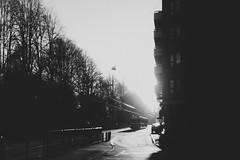 (jean_pichot1) Tags: silhouette trees highlights tracks coming profile balconies lamp bw sunshine building gothenburg dark shadows bright morning street light tram