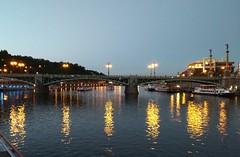 Prague reflections (Rob Hall -) Tags: bridge prague reflections river water reflection evening sky boats light lights