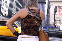 Fashion Sense (stillsguy) Tags: nyc summer midtown young blonde woman intersection lace blouse leather glove bag gold belt stylized waiting traffic striking pose streetphotography leica m9 35mm cron